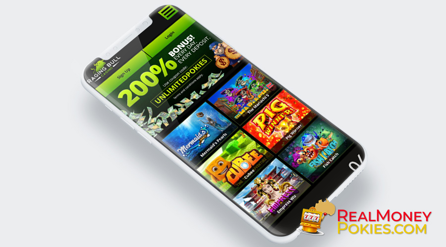 playing raging bull casino on your smartphone