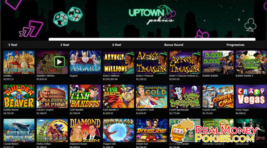 uptown pokies game selection