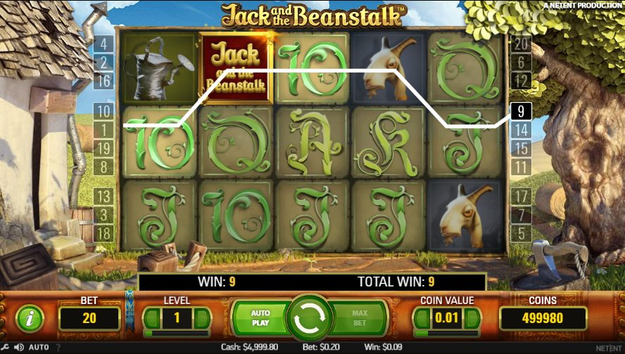 Jack and the Beanstalk pokie game on mobile